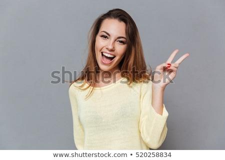 feliz · mujer · paz · signo · asia · arco · iris - foto stock © feedough