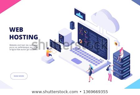 Háló hosting kéz tart szó gömb Stock fotó © kbuntu