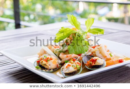 summer salad with shrimps Stock photo © m_pavlov