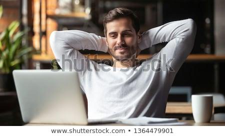Biznesmen optymistyczny patrząc biuro uśmiech tle Zdjęcia stock © lisafx