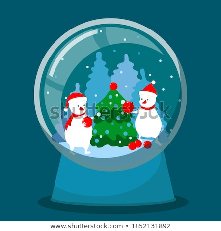 vector holiday illustration on a christmas theme with snow globe against stock photo © articular