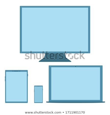 Computer Monitor with blue screen. Isolated on white background stock photo © shutswis