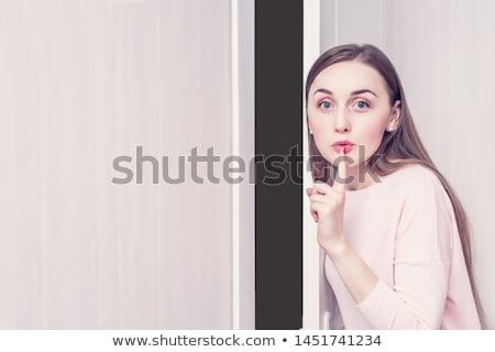 Nő mutatóujj ajkak kék száj fogak Stock fotó © photography33