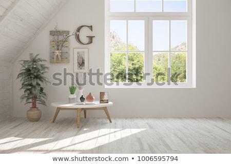 Fenêtre chambre vieux grunge ciel herbe Photo stock © cla78