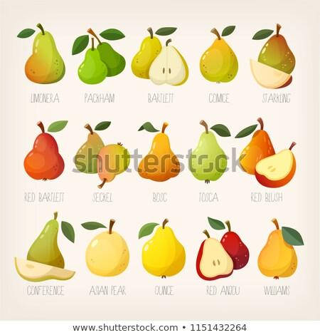 peras · madeira · luz · fruto · verde · prato - foto stock © cynoclub