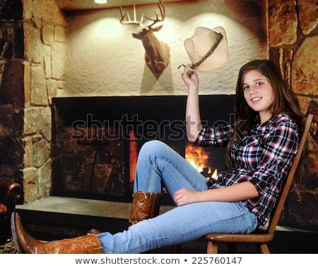 огня красивой молодые Деревенская девушка женщину Сток-фото © piedmontphoto