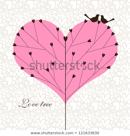 ツリー · バレンタイン · フクロウ · 中心 · 葉 · 芸術 - ストックフォト © creative_stock
