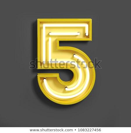 Number five digit from neon light Stock photo © deyangeorgiev