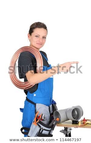 Női segédmunkás szerszámok felszerlés épület építkezés Stock fotó © photography33