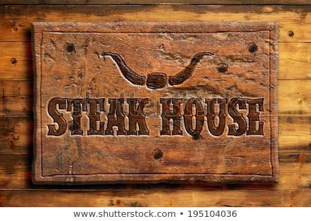 Zdjęcia stock: Stek · domu · zachód · stylu · zielona · trawa