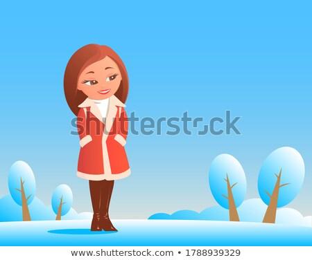 Mijn pels jonge aantrekkelijke vrouw vergadering Stockfoto © zhekos