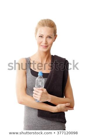 geschikt · aantrekkelijke · vrouw · handdoek · rond · nek - stockfoto © wavebreak_media