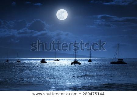 Luz de la luna velero grande luna océano pequeño Foto stock © ankarb