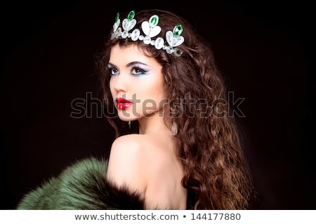 schoonheid · brunette · vrouw · zwarte · sluier · Rood - stockfoto © victoria_andreas