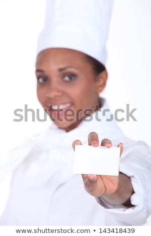 Chef holding a businesscard Stock photo © photography33