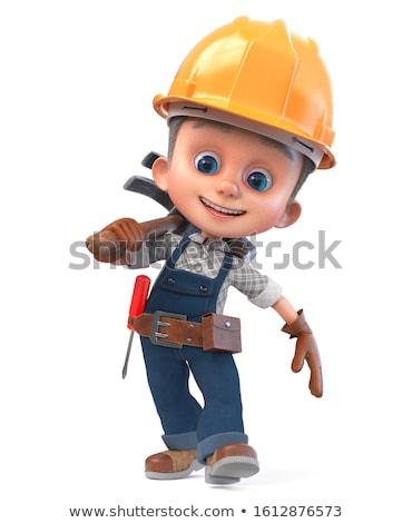 3D jongen bouwer baksteen gebouw Stockfoto © karelin721