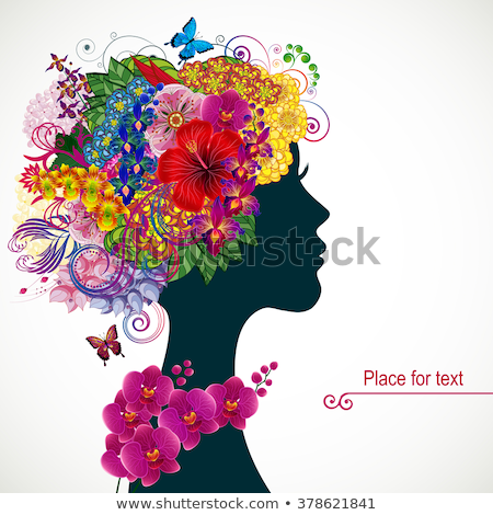 Silhouette of Girl with Hibiscus Flower on Hair Stock photo © lenm