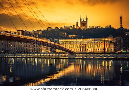 Footbridge and river saone at night Stock photo © vwalakte