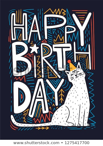 birthday card with cat stock photo © balasoiu