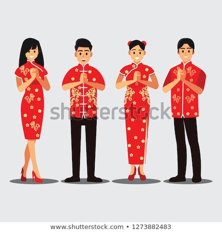 Chinese cheongsam man Stock photo © szefei