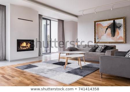 Zdjęcia stock: Nowoczesne · wnętrza · 3D · sofa · tabeli · czarno · białe