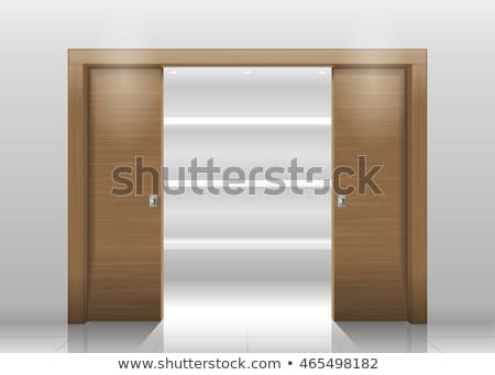 Legno guardaroba porte spogliatoio vetro stanza Foto d'archivio © smuay