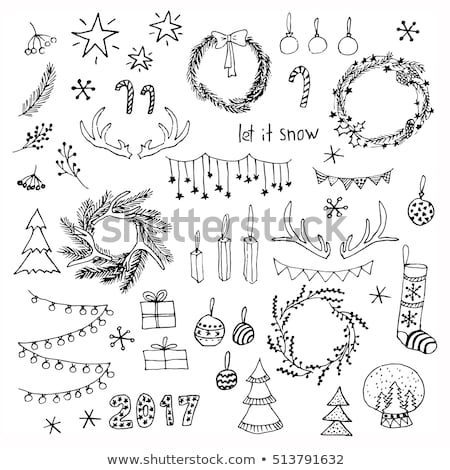 ストックフォト: 手描き · クリスマス · セット · シンボル · eps