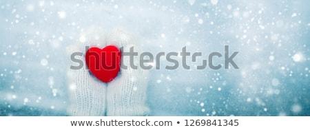 Kız kış elbise kalp sevgililer günü mavi Stok fotoğraf © fotoatelie