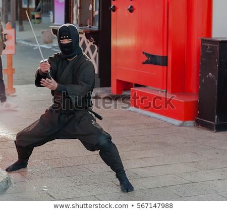 Retrato masculino ninja preto traje isolado Foto stock © AndreyPopov