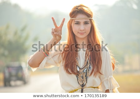 Hippi lány arany mező vidék ül Stock fotó © Witthaya