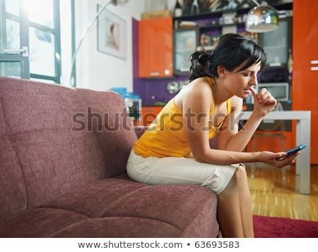 solitário · mulher · sessão · sofá · rasgado - foto stock © monkey_business