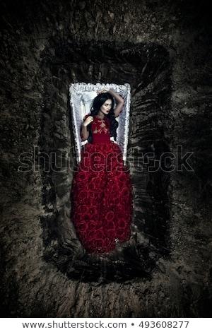 Belo vampiro mulher vestido vermelho menina moda Foto stock © Nejron