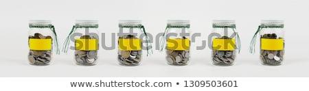 érmék lekvár bögre pénz asztal dolgozik Stock fotó © monkey_business
