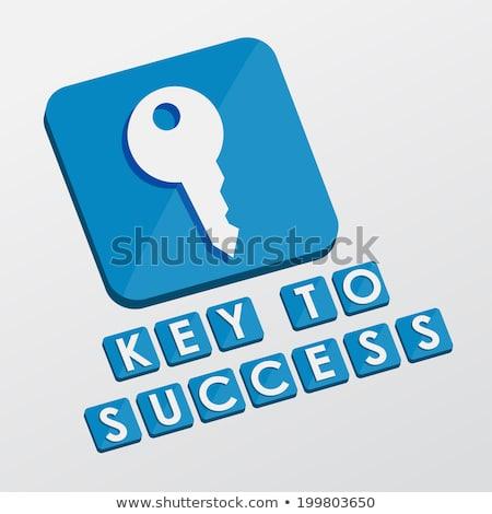 key to success and key sign, flat design blocks Stock photo © marinini