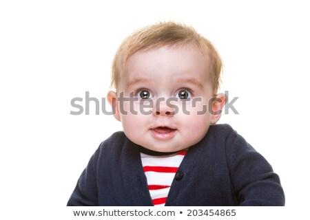 Gelukkig glimlachend Blauw cardigan Rood Stockfoto © scheriton