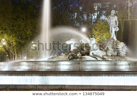Neptune Chariot Horses Statue Fountain Madrid Spain Stock photo © billperry