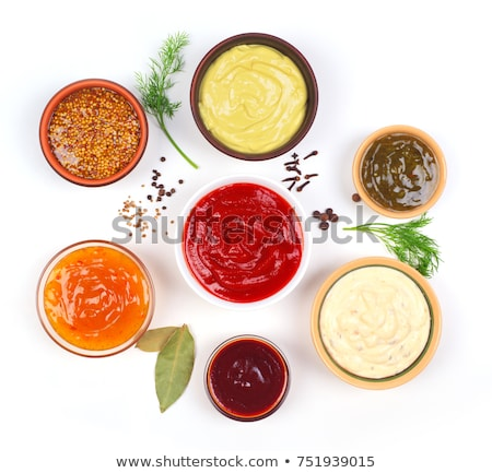 Several sauce bowl with different sauces and seasonings  Stock photo © punsayaporn