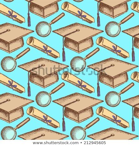 rajz · érettségi · kalap · zoom · végtelen · minta · üveg - stock fotó © kali