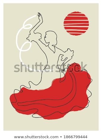 Güzel genç kadın dans flamenko poster vektör Stok fotoğraf © leonido