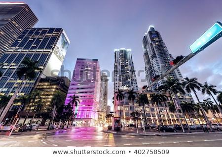 Miami belváros éjszaka függőleges kilátás iroda Stock fotó © vwalakte