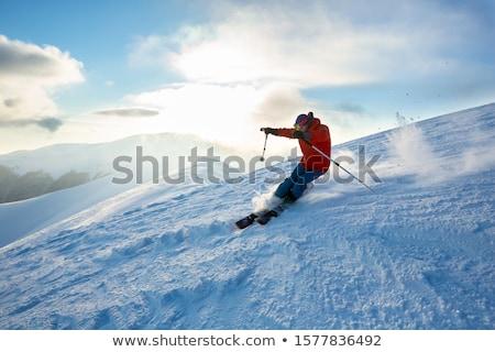 Síel téli sport ikon sport hegy felirat Stock fotó © iaRada