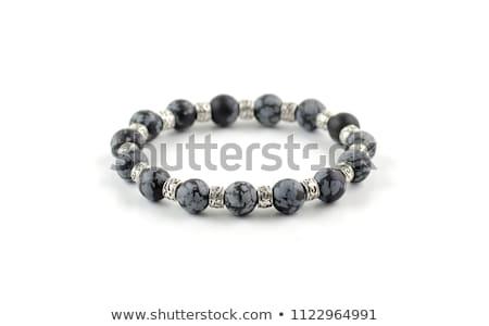 Sneeuwvlok kostbaar stenen zwarte illustratie achtergrond Stockfoto © yurkina