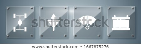 Funnel icon with drops set on glass buttons Stock photo © aliaksandra
