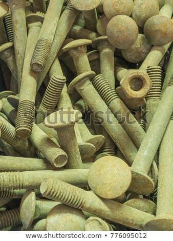 Random pile of round threaded steel screw Stock photo © Ralko