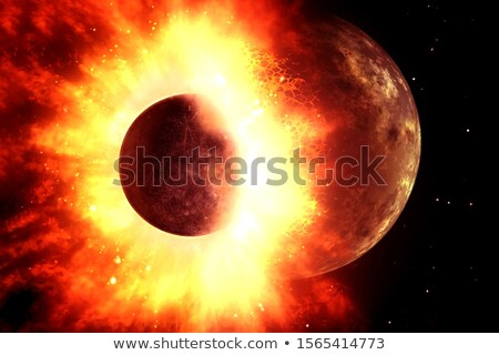 Abstract space fantasy - collision of two planets Stock photo © alinbrotea