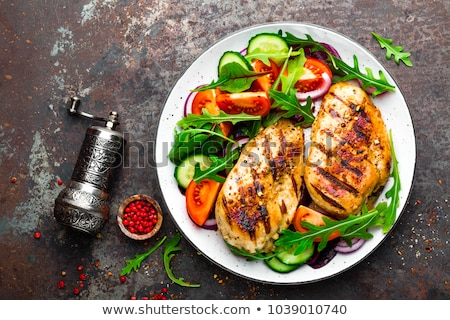 salad with fresh vegetables and chicken grilled stock photo © ironstealth