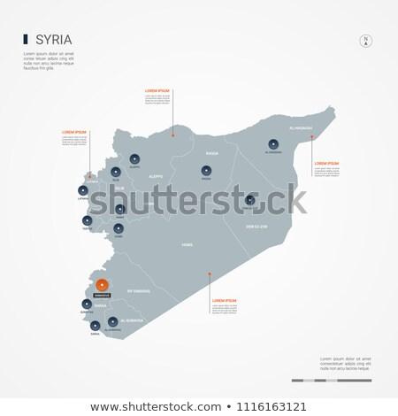 Oranje knop afbeelding kaarten Syrië vorm Stockfoto © mayboro