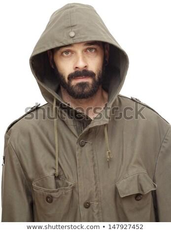 Izmos fiatalember kabát áll fekete szexi Stock fotó © wavebreak_media