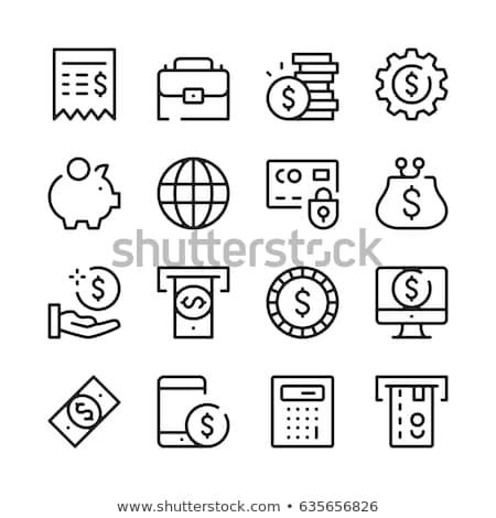 stack of dollar coin thin line icon stock photo © rastudio
