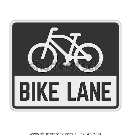 Bicikli sáv felirat aszfalt út űr Stock fotó © stevanovicigor